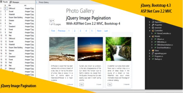 jQuery Image Pagination With ASP.Net Core 2.2 MVC, Bootstrap 4 and SQL Database