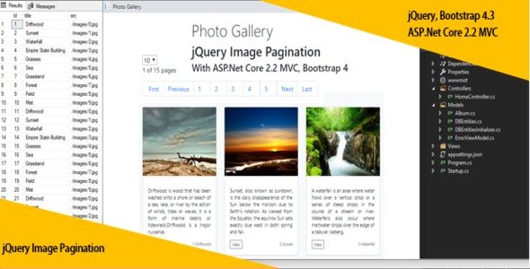 jQuery Image Pagination With ASP Net Core 2 2 MVC, Bootstrap