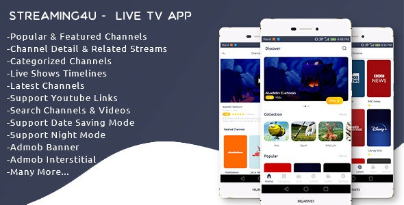 Streaming4u - Live Tv and Streaming app with Admin panel - CodeCanyon Item for Sale