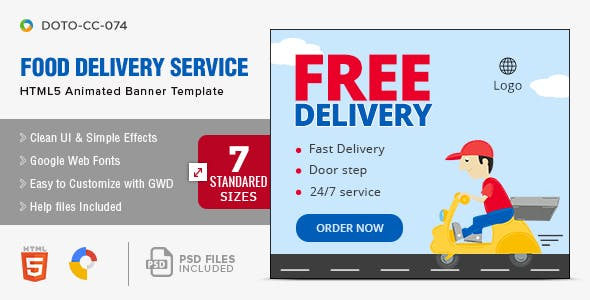 Food Delivery Service HTML5 Banners - 7 Sizes