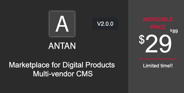 Antan - Marketplace for Digital Products Multi-vendor CMS