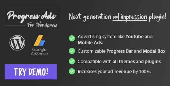 Progress Ads - WordPress Skippable Ads Plugin