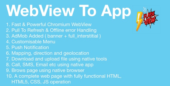 FlashView | Universal Android WebView App With Admobs - CodeCanyon Item for Sale