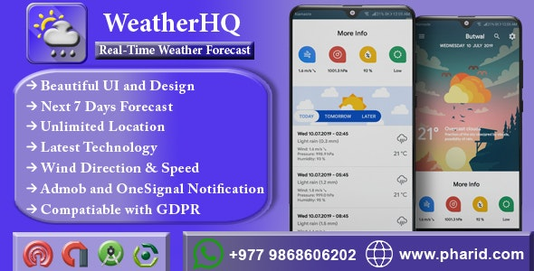 WeatherHQ - Live Weather Forecast & Alerts | Material Design, Admob Ads, ONE SIGNAL - CodeCanyon Item for Sale