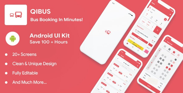 QIBus- Bus booking android app ui template - Kotlin - CodeCanyon Item for Sale