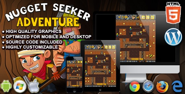 Nugget Seeker Adventure - HTML5 Arcade Game - CodeCanyon Item for Sale