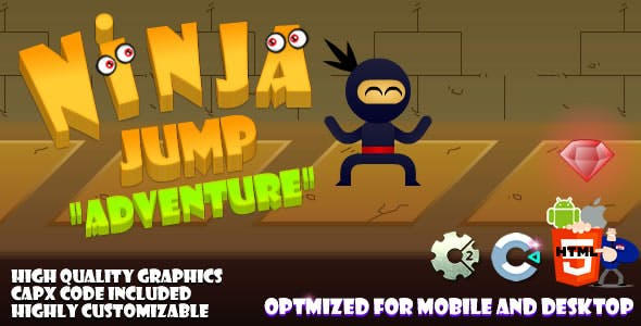 Ninja Jump - Adventure (C2, C3, HTML5) Game.