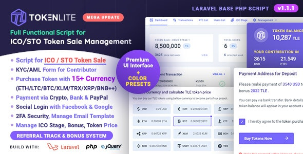 TokenLite - ICO / STO Token Sale Management Dashboard - ICO Admin