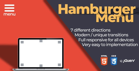 Hamburger Menu | Responsive - CodeCanyon Item for Sale