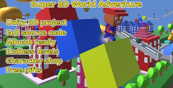 Super 3d World Adventure, Unity game source code by