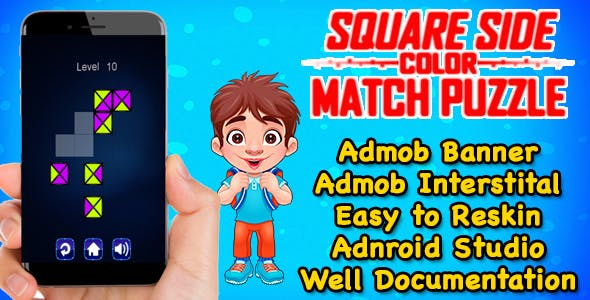 Square Side Color Puzzle Game Kids And Adults + Admob + Android Studio Project