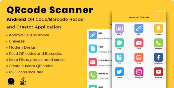 QRcode Scanner | Android QR Code/Barcode Reader and Creator Application - CodeCanyon Item for Sale