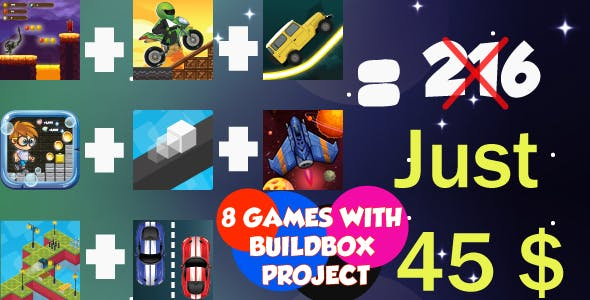Bundle 8 Games (8 Project BUILDBOX) with different Gameplay