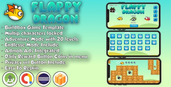 Flappy Dragon - Android Studio & Eclipse & Buildbox Game Template
