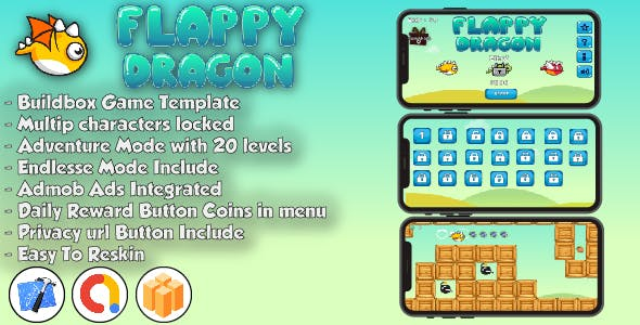 Flappy Dragon - Xcode Projet & Buildbox Game Template