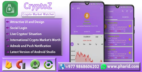 CryptoZ - Crypto Market Watcher | Android Studio Project | Admob Ads | Beautiful UI