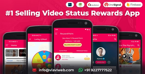 Android Video Status App With Reward Points (Lucky Wheel, WA Status Saver) - CodeCanyon Item for Sale