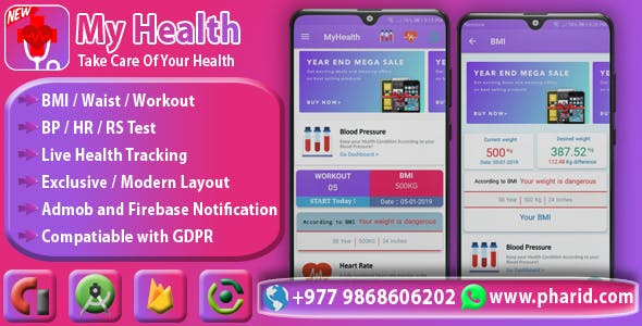 MyHealth - Health & Fitness Tracker | Beautiful UI, Admob, Push Notification