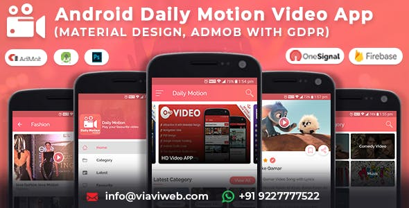 Android Daily Motion Video App (Material Design,Admob with GDPR )