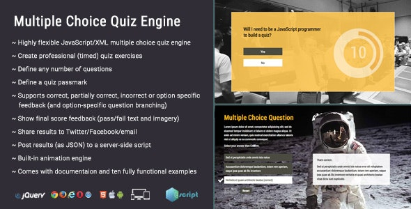 Multiple Choice Quiz Engine by Escript | CodeCanyon