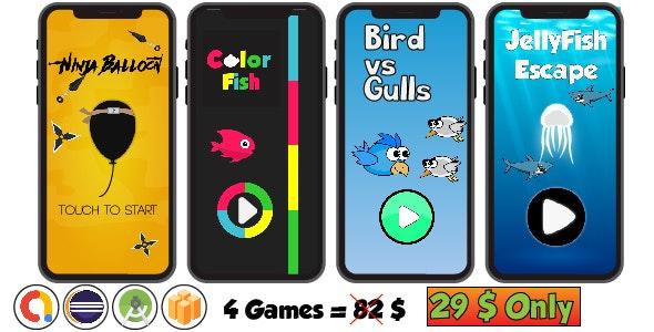 Mega Bundle 4 Games - Android Studio & Buildbox Templates by