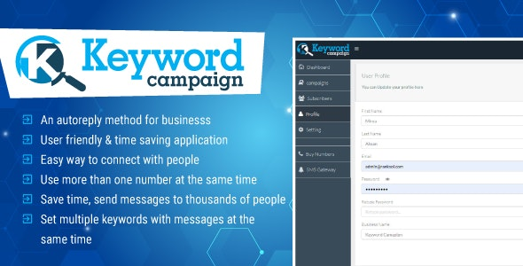 Keywords Campaign Web Application Php Script by promotionking