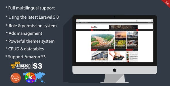 LaraMag - Laravel CMS, Magazine, CRUD generator, Modular & Theme, Role permission system