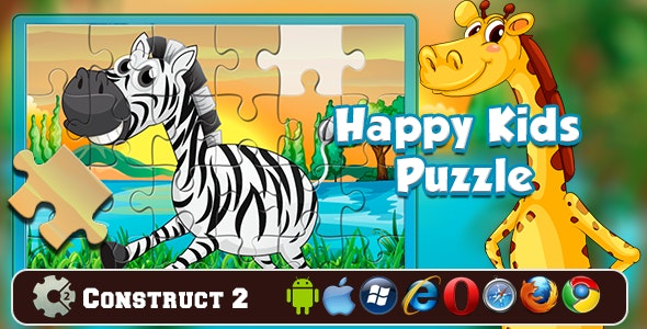 Happy Kids Jigsaw Puzzle Construct 2 Game - CodeCanyon Item for Sale