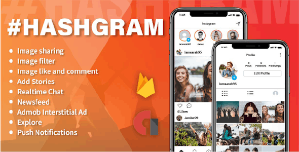 HashGram - Android Photo and Video sharing App - CodeCanyon Item for Sale