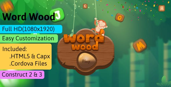 Word Wood- HTML5 Game (Construct 2 | Construct 3 | Capx) - Word Game
