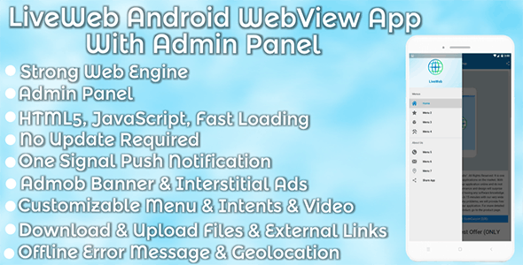 LiveWeb Android WebView App With Admin Panel - CodeCanyon Item for Sale