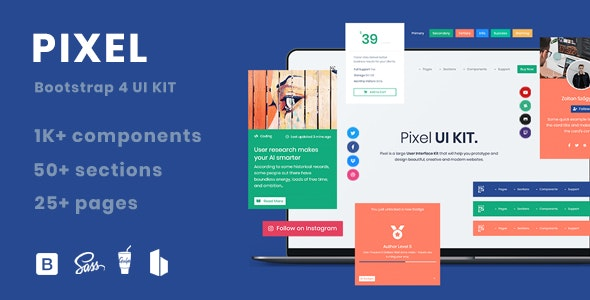 Pixel PRO - Premium Bootstrap 4 UI Kit - CodeCanyon Item for Sale