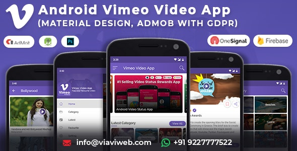 Android Vimeo Video App (Material Design,Admob with GDPR ) - CodeCanyon Item for Sale