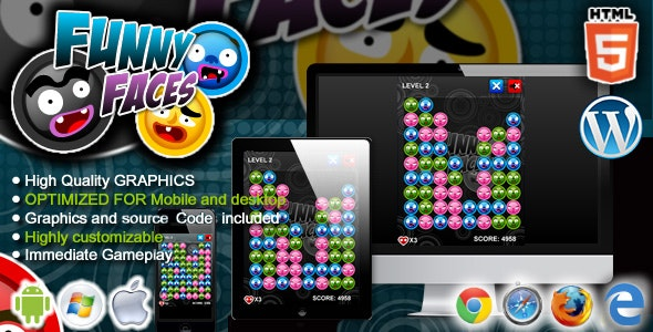 Funny Faces - HTML5 Match 3 Game by codethislab | CodeCanyon