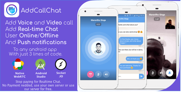 AddCallChat - Add Video/Voice Calls and Realtime Chat to any app, with WebRTC, just few line of code - CodeCanyon Item for Sale