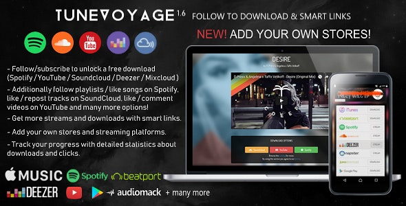 TuneVoyage - Follow to Download & Smart Links (SoundCloud/Spotify
