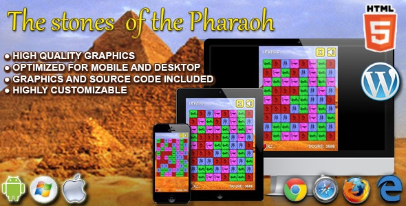The Stone of the Pharaoh - HTML5 Match 3 Game by codethislab