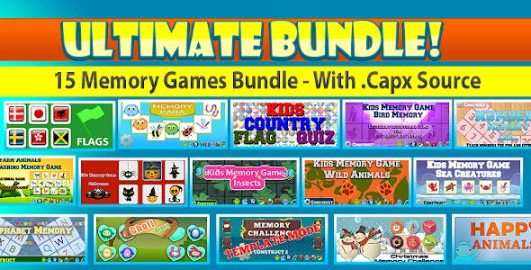 Kids Memory Game Bundle - 15 Games