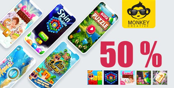 Mega Bundle 5 Games (2)- Android studoi + admob