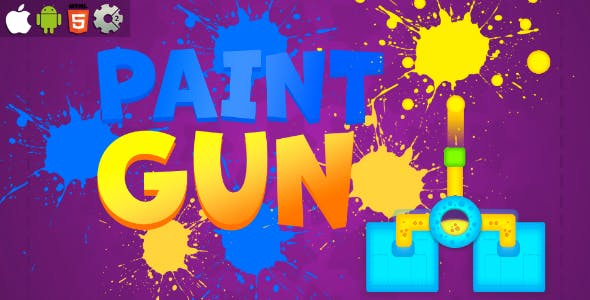 Paint Gun - HTML5 Mobile Game (Construct 3 / Construct 2 / Capx)