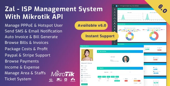 Zal - ISP Management System With Mikrotik API by onezeroart