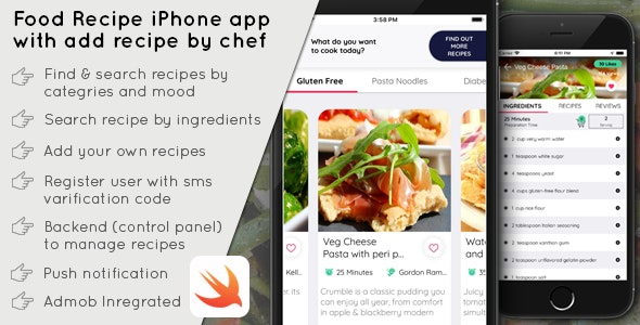Food Recipe iPhone app with add recipe by chef - SWIFT 4 - CodeCanyon Item for Sale