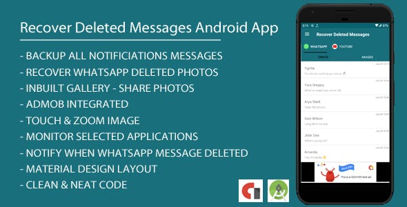 Recover Deleted Messages Android App with Admob Integration