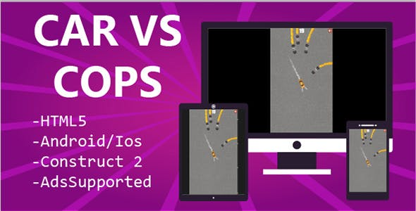 Car vs Cops HTML5 & Mobile Game (Construct 2&3)