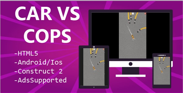Car vs Cops HTML5 & Mobile Game (Construct 2&3) - CodeCanyon Item for Sale