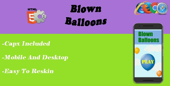 Blown Balloons - HTML5 Game - CAPX - CodeCanyon Item for Sale