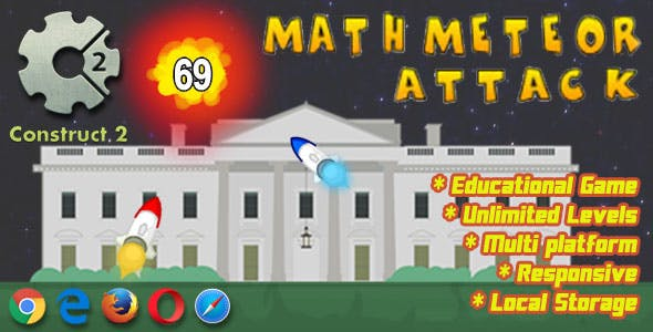 Math Meteor Attack - HTML5 Educational Game