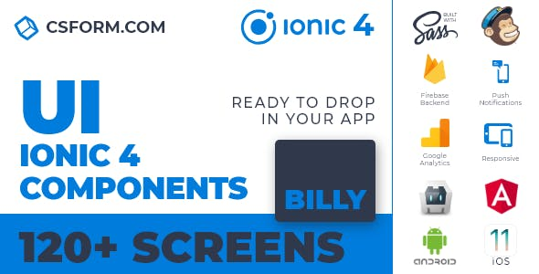 Billy | Ionic 4 / Angular 7 UI Theme / Template App | Multipurpose Starter App