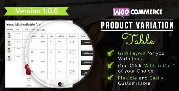 WooCommerce Product Variation Table - CodeCanyon Item for Sale