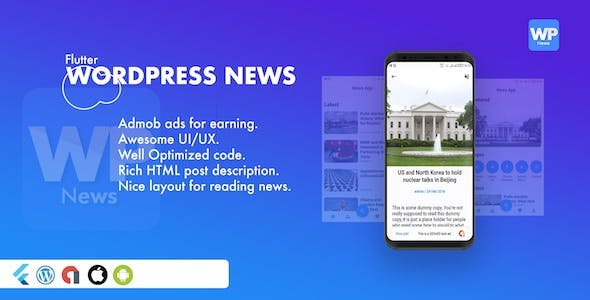 Flutter Blog and News app for WordPress Site with AdMob and Firebase Push Notification